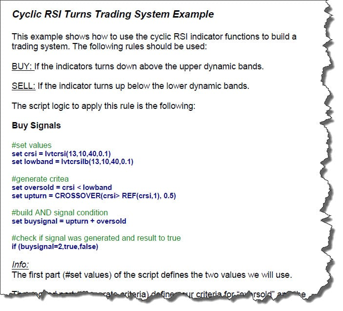 Cyclic RSI Script Example